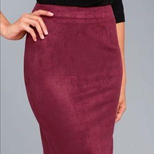 Lulu's Skirts - Burgundy Suede Pencil Skirt